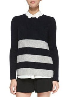Striped Ribbed-Knit Sweater   Striped Ribbed-Knit Sweater