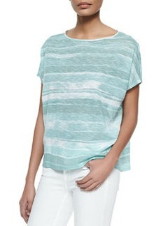 Vince Striped Short-Sleeve Cocoon Top