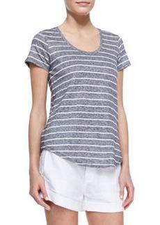 Striped Short-Sleeve Slub Tee, Coastal   Striped Short-Sleeve Slub Tee, Coastal
