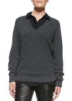 Textured Knit V-Neck Sweater   Textured Knit V-Neck Sweater
