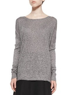 Textured Long-Sleeve Boat-Neck Top   Textured Long-Sleeve Boat-Neck Top