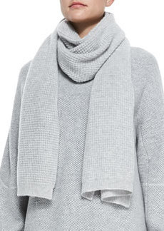 Thermal Waffle-Pattern Scarf, Heather Snow   Thermal Waffle-Pattern Scarf, Heather Snow