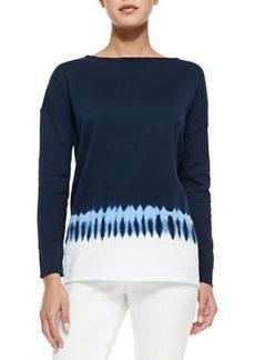 Tie-Dye Boat-Neck Sweater   Tie-Dye Boat-Neck Sweater