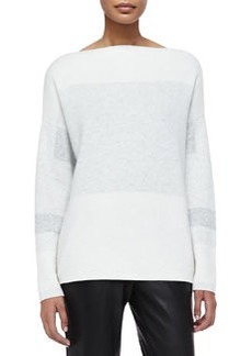 Tonal Colorblock Knit Sweater, Off White   Tonal Colorblock Knit Sweater, Off White