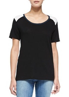 Tricolor Short-Sleeve Tee, Black/White/Coastal   Tricolor Short-Sleeve Tee, Black/White/Coastal