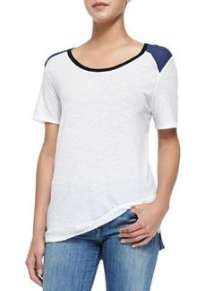 Tricolor Short-Sleeve Tee, White/Blue/Black   Tricolor Short-Sleeve Tee, White/Blue/Black