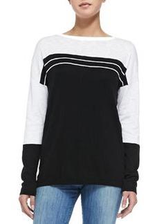 Two-Tone Cotton Slub Top, Black/Optic White   Two-Tone Cotton Slub Top, Black/Optic White