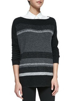 Variegated Marl Boat-Neck Sweater   Variegated Marl Boat-Neck Sweater