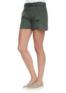 Vince Belted Linen-Blend Shorts
