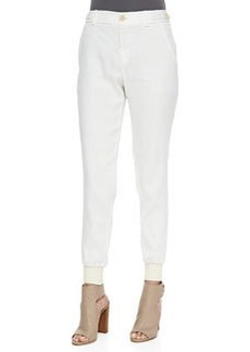 Vince Button-Front Linen Jogger Pants