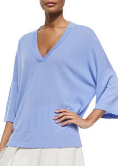 Vince Cashmere Drop-Sleeve V-Neck Sweater