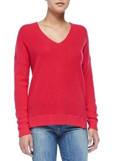 Vince Cashmere Ribbed V-Neck Sweater