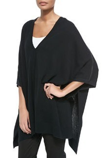 Vince Cashmere V-Neck Leather-Trim Poncho