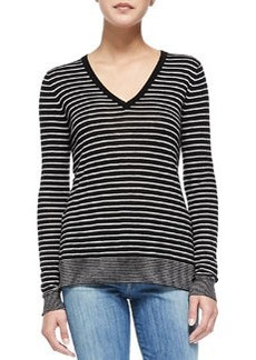 Vince Contrast-Trim Striped Knit Tee, Black/Steel