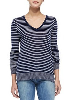 Vince Contrast-Trim Striped Knit Tee, Off White