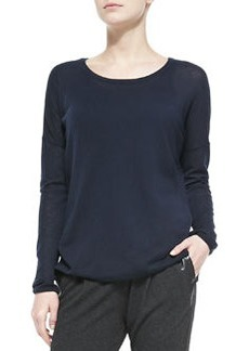 Vince Crewneck Long-Sleeve Sweater, Coastal
