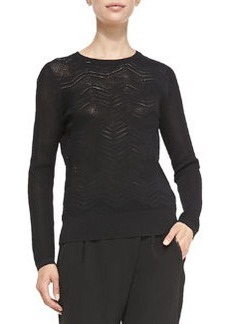 Vince Crewneck Zigzag Mesh Sweater, Black