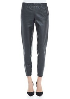 Vince Cropped Leather Pants, Graphite