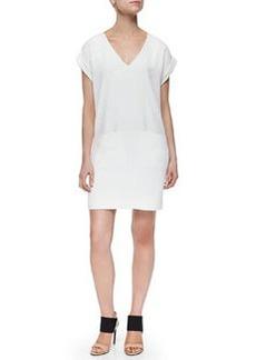 Vince Cuff-Sleeve V-Neck Dress