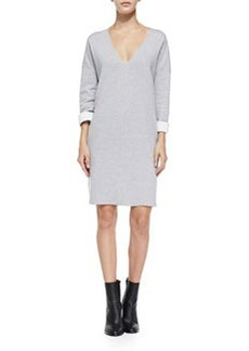 Vince Double-Face-Knit V-Neck Dress