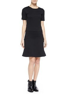 Vince Fitted Flare-Hem Ponte Dress, Black