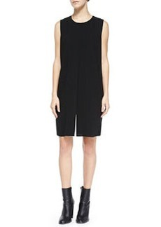 Vince Flyaway-Front Crepe Dress, Black/Ivory