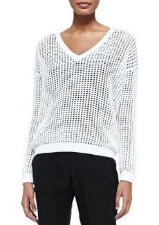 Vince Grid Mesh V-Neck Sweater