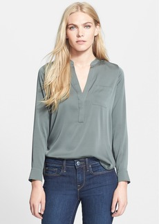 Vince Half Placket Stretch Silk Blouse