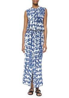 Vince Ikat-Print Cargo Maxi Dress