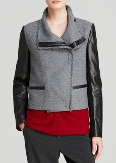 Vince Jacket - Leather Sleeve Bouclé Scuba