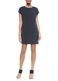Vince Jewel-Neck Cap-Sleeve Dress