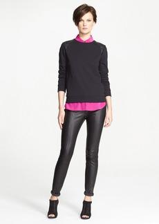 Vince Leather Shoulder Trim Sweatshirt