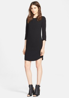 Vince Leather Strapping Long Sleeve Shift Dress
