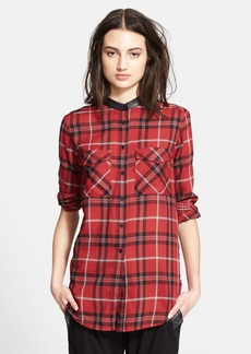 Vince Leather Trim Plaid Long Sleeve Shirt