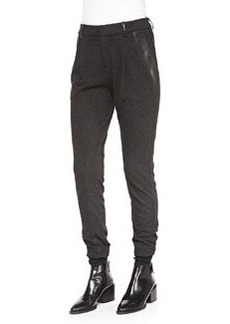 Vince Leather-Trim Relaxed Trousers, Charcoal