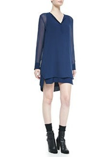 Vince Long-Sleeve Double-Layer Shirttail Dress, Officer