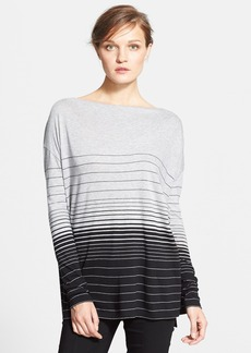 Vince Long Variegated Stripe Long Sleeve Boatneck Top