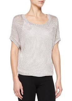 Vince Metallic See-Through Knit Sweater