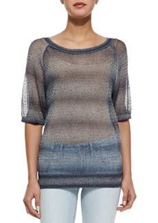 Vince Metallic See-Through Knit Sweater