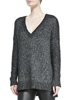 Vince Metallic V-Neck Knit Sweater, Black