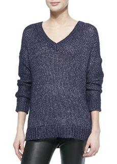 Vince Metallic V-Neck Sweater, Navy