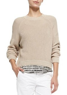 Vince Mixed-Ribbed-Knit Pullover Sweater