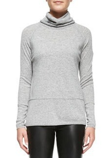 Vince Mixed-Weight Cashmere Turtleneck, Heather Steel