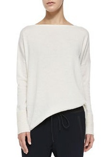 Vince Ottoman Ribbed-Cuff Knit Sweater, Off White