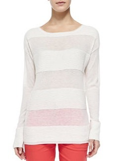 Vince Ottoman Sheer/Solid Striped Sweater