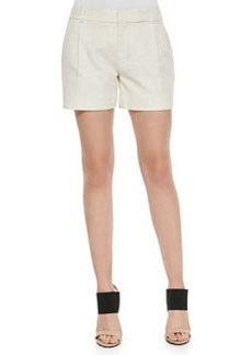 Vince Ottoman Single-Pleat Shorts, Linen