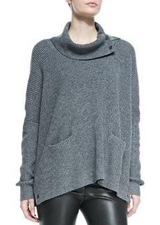 Vince Oversize Snap-Turtleneck Sweater, Med Heather Gray