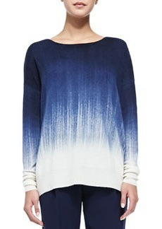 Vince Painted Ombre Knit Sweater, Off White/Blue Marine