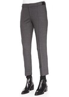 Vince Pintuck Leather-Tab Pants