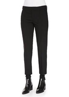 Vince Pintuck Leather-Tab Pants, Black